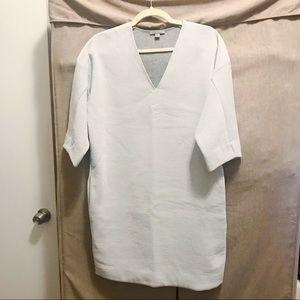 NWOT: COS 3/4 Sleeve V-Neck Light Grey Tunic Dress